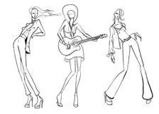 Härliga unga kvinnor dansar och spelar musik För partimode för hand utdragen flicka model posera skissa royaltyfri illustrationer