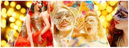 Härliga unga kvinnor i karnevalmaskering royaltyfri foto