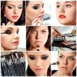 Härliga unga kvinnor med stilfullt smink Arkivbild