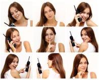 härliga unga telefonkvinnor Royaltyfria Foton