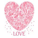 Härliga Valentine& x27; s-daghjärta med etniska fjädrar Fotografering för Bildbyråer