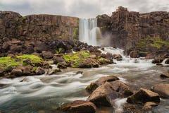 Härliga vattenfall i ofördärvad bygdisländskainre iceland fotografering för bildbyråer