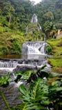 Härliga vattenfall som flödar in i en ström fotografering för bildbyråer