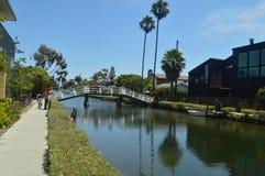 Härliga Venedig strandkanaler Juli 04, 2017 Lopplandskapferier Arkivbild