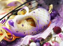 Härliga Venetian karnevalmaskeringar Arkivfoton