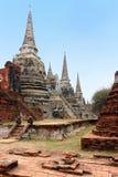 H?rliga Wat Phra Sri Sanphet, f?rd?rvar av den forntida kungliga templet av huvudstaden, Ayutthaya, Thailand arkivbild