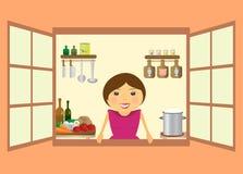 härligt äta att förbereda sig till kvinnan Arkivbild