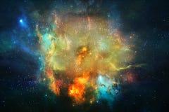 Härligt abstrakt slätt glödande nebulosagalaxkonstverk stock illustrationer