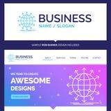 Härligt affärsidémärkesnamnjordklot, nätverk, pil som är ny vektor illustrationer