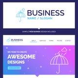 Härligt affärsidémärkesnamnparaply som campar, regn, s royaltyfri illustrationer