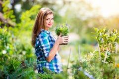 Härligt arbeta i trädgården för ung kvinna Royaltyfri Foto