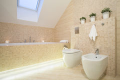 Härligt badrum i beige färg Arkivbild