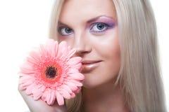 härligt barn för blommagerberkvinna fotografering för bildbyråer