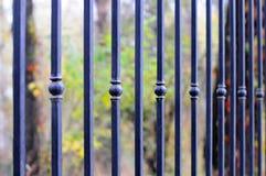 Härligt bearbetat staket Bild av ett dekorativt gjutjärnstaket Del av ett metallrasterstaket härligt staket med det konstnärliga  Fotografering för Bildbyråer