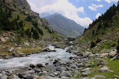 Härligt berglandskap, blå himmel, träd, flod Royaltyfria Bilder