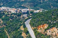 Härligt berglandskap, Katharo platå, Kreta Arkivbild