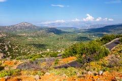 Härligt berglandskap, Katharo platå, Kreta Royaltyfria Bilder