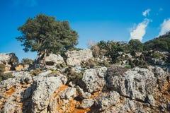 Härligt berglandskap, Katharo platå, Kreta, Grekland Fotografering för Bildbyråer