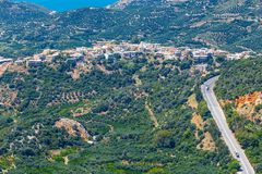 Härligt berglandskap nära den Kritsa byn, Kreta Fotografering för Bildbyråer