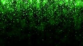 Härligt blänka ljusbakgrund Bakgrund med den gröna fallande partikelmallen för högvärdig design ljus magi stock illustrationer
