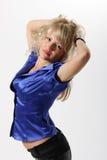 härligt blått flickaomslag Arkivfoto