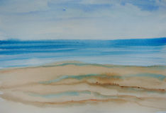Härligt blått hav, vattenfärgmålning Royaltyfri Foto