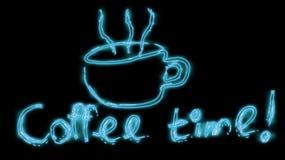 Härligt blått ljust glödande abstrakt neontecken från en kopp av läckert varmt kaffe och inskriftkaffet Tid och kopieringsutrymme vektor illustrationer