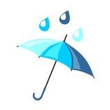 Härligt blått paraply i en plan stil På den är fallande raind Royaltyfria Bilder