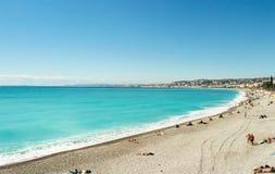 Härligt blått sommarhav och strand, blå horisont för havsvattenvåg Royaltyfri Bild