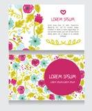 Härligt blom- affärskort stock illustrationer