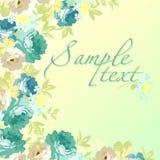 Härligt blom- hälsningkort med blåa rosor Arkivbild