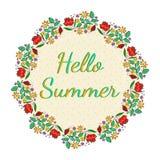 Härligt blom- kort med Hello sommartext Arkivbilder