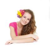 härligt blommaflickabarn Royaltyfri Foto
