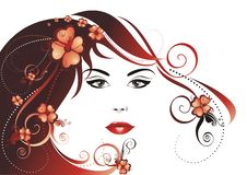 härligt blommaflickahår stock illustrationer