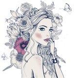 härligt blommakvinnabarn stock illustrationer