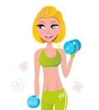 härligt blont övande hår weights kvinnan Arkivbild
