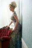 Härligt blont i bröllopsklänning Royaltyfria Bilder
