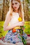 härligt blont kvinnabarn Royaltyfria Foton