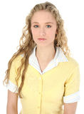 härligt blont lockigt teen flickahår long arkivbilder