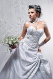 härligt bröllop för bukettbrudholding Fotografering för Bildbyråer