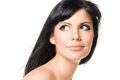 härligt brunettflickabarn Fotografering för Bildbyråer