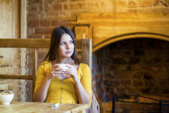 Härligt brunettflickasammanträde i en coffee shop arkivbild