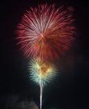 Härligt färgrikt fyrverkeri på himlen på natten Royaltyfri Fotografi