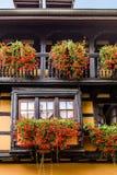 Härligt fönster i traditionellt franskt hus i Eguisheim nära C Arkivbilder