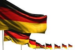 Härligt förlade många Tysklandflaggor diagonalt som isolerades på vit med utrymme för text - någon illustration för tillfälleflag royaltyfri illustrationer