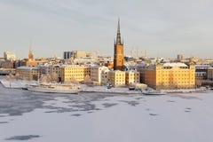 Härligt fartyg och byggnader i Riddarholmen vid havet i centr Fotografering för Bildbyråer