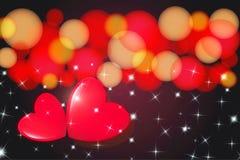 Härligt festligt hälsa kort med hjärta, bokeh och ljus royaltyfri illustrationer