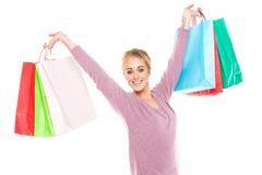 härligt fira shoppingkvinnabarn Arkivbilder