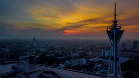 Härligt flyg- landskap av Alor Setar Malaysia Den mest berömda Alor Setar Tower i Malaysia royaltyfria foton