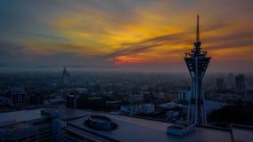 Härligt flyg- landskap av Alor Setar Malaysia Den mest berömda Alor Setar Tower i Malaysia fotografering för bildbyråer